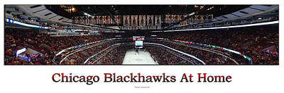 Photograph - Chicago Blackhawks At Home Panorama White by Thomas Woolworth