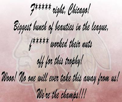 Chicago Blackhawks Crawford's Speech Print by Dan Sproul
