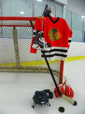 Chicago Blackhawks Home Hockey Jersey Print by Lisa Wooten