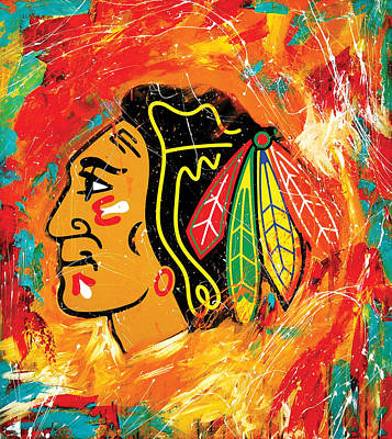 Hockey Painting - Chicago Blackhawks Logo by Elliott From