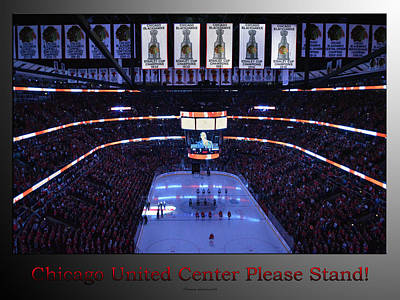 Photograph - Chicago Blackhawks Please Stand Up With Red Text Sb by Thomas Woolworth