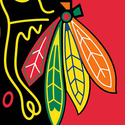 Hockey Painting - Chicago Blackhawks by Tony Rubino