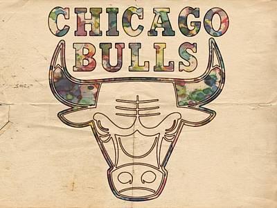Chicago Bulls Logo Vintage Print by Florian Rodarte