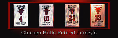 Mixed Media - Chicago Bulls Retired Jerseys Banners by Thomas Woolworth