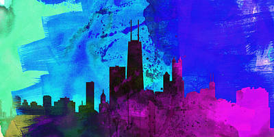 Architectural Painting - Chicago City Skyline by Naxart Studio