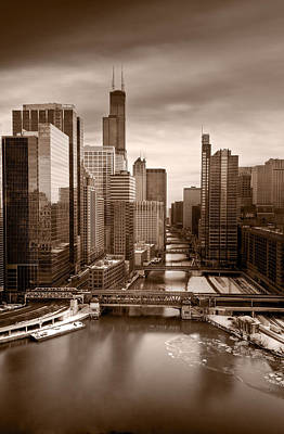 Chicago City View Afternoon B And W Original by Steve Gadomski