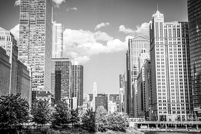 Chicago Cityscape Black And White Picture Print by Paul Velgos