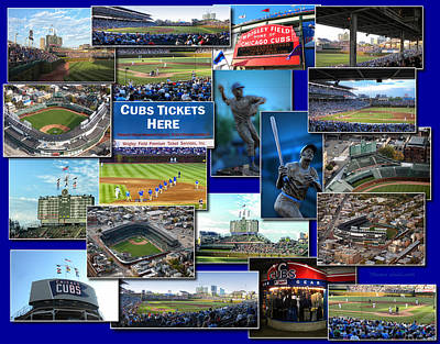 Wrigley Field Digital Art - Chicago Cubs Collage by Thomas Woolworth