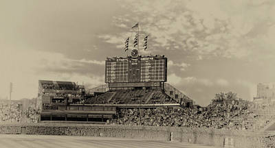 Northside Photograph - Chicago Cubs Scoreboard In Heirloom Finish by Thomas Woolworth