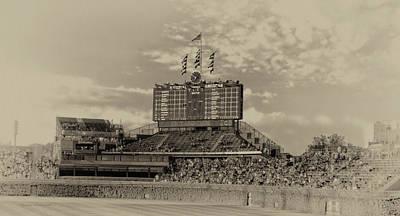 Wrigley Field Digital Art - Chicago Cubs Scoreboard In Heirloom Finish by Thomas Woolworth