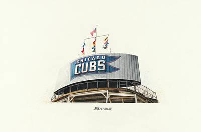 Wrigley Field Drawing - Chicago Cubs Scoreboard by Ken Hank