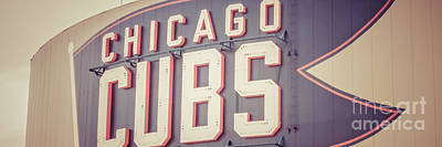 Chicago Cubs Stadium Print featuring the photograph Chicago Cubs Sign Vintage Panoramic Picture by Paul Velgos