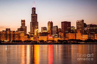 Chicago Downtown City Lakefront With Willis-sears Tower Print by Paul Velgos
