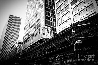 Chicago Elevated L Train In Black And White Print by Paul Velgos