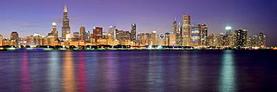 Chicago Evening Panorama Print by Frozen in Time Fine Art Photography