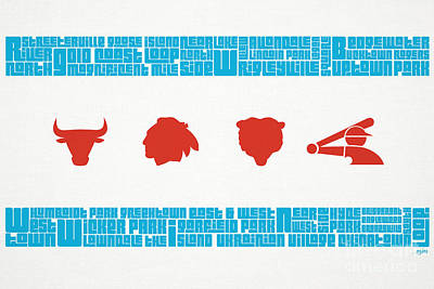 Stencil Art Digital Art - Chicago Flag Sports Teams V2 by Mike Maher