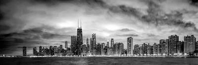 Chicago Gotham City Skyline Black And White Panorama Print by Christopher Arndt