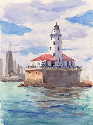Seascape Painting - Chicago Harbor Light by Max Good