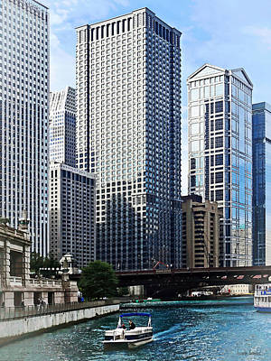 Chicago Il - Chicago River Near Wabash Ave. Bridge Print by Susan Savad
