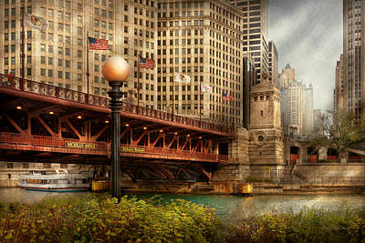 Chicago Il - Dusable Bridge Built In 1920 Print by Mike Savad