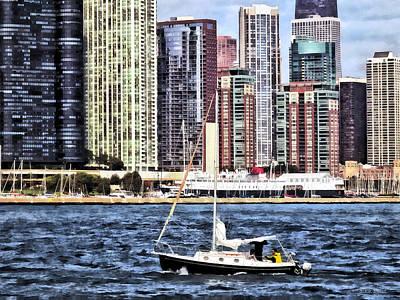 Sailing Photograph - Chicago Il - Sailing On Lake Michigan by Susan Savad