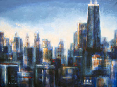 Skyline Painting - Chicago In The Morning by Joseph Catanzaro