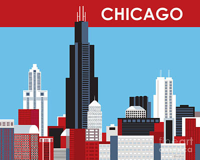 Sears Tower Digital Art - Chicago Illinois Skyline By Loose Petals by Karen Young