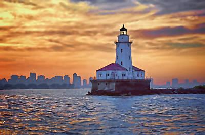 Chicago Lighthouse Impression Print by John Hansen