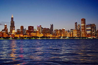 Chicago Lights Print by Frozen in Time Fine Art Photography