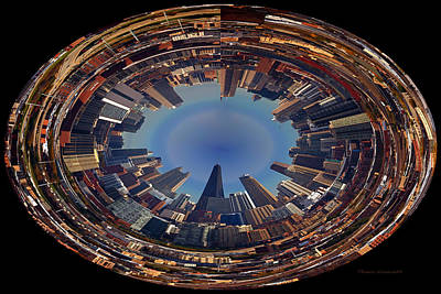 Soldier Field Digital Art - Chicago Looking East Polar View by Thomas Woolworth