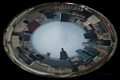 Soldier Field Digital Art - Chicago Looking West Polar View by Thomas Woolworth