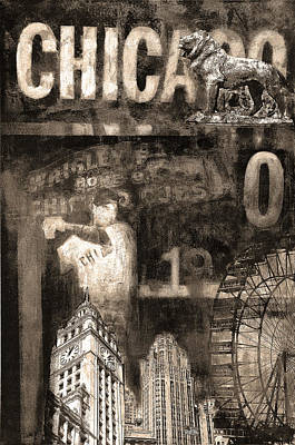 Wrigley Field Painting - Chicago Memories In Sepia Tones by Joseph Catanzaro