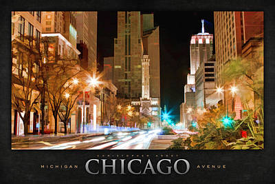 Water Tower Painting - Chicago Michigan Avenue Light Streak Poster by Christopher Arndt