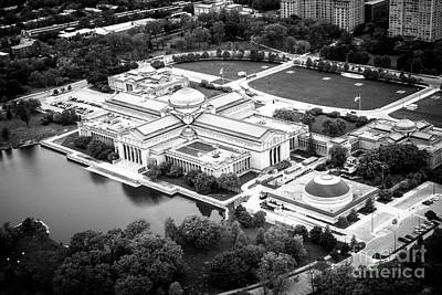 Chicago Museum Of Science And Industry Aerial View Print by Paul Velgos
