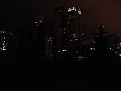Chicago Night From Roof Print by Mieczyslaw Rudek