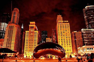 Chicago Photography - The Bean At Night Print by Gene Mark