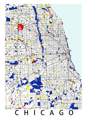 Backdrop Digital Art - Chicago Piet Mondrian Style City Street Map Art by Celestial Images