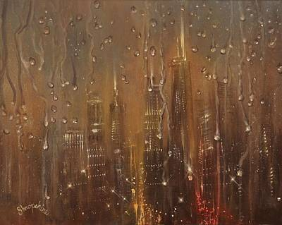 Chicago Painting - Chicago Raindrops On Glass by Tom Shropshire