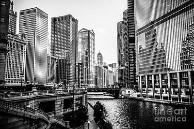 Airline Photograph - Chicago River Buildings In Black And White by Paul Velgos