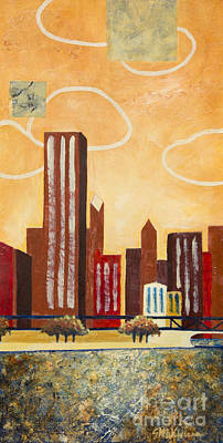Chicago Skyline Mixed Media - Chicago River I by Sandra Neumann Wilderman