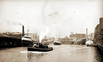 Chicago River Scene With Steamboat And Industrial Print by Litz Collection