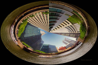 Soldier Field Digital Art - Chicago River South Branch Polar View by Thomas Woolworth