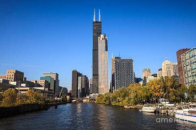 Chicago Photograph - Chicago River With Willis-sears Tower by Paul Velgos