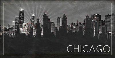 Sears Tower Painting - Chicago Silhouette by Jennifer Pugh