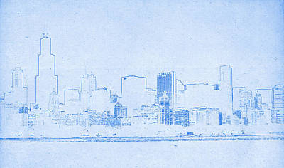 Chicago Skyline Mixed Media - Chicago Skyline - Blueprint Drawing by MotionAge Designs