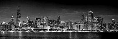 Chicago Skyline At Night Black And White Print by Jon Holiday