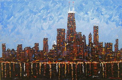 Chicago Reflections Painting - Chicago Skyline At Night From North Avenue Pier by J Loren Reedy