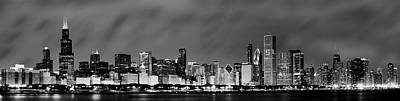 Chicago Skyline At Night In Black And White Print by Sebastian Musial