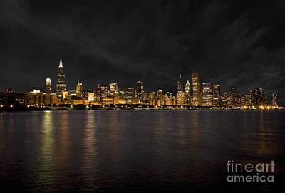 Chicago Skyline At Night Print by Timothy Johnson