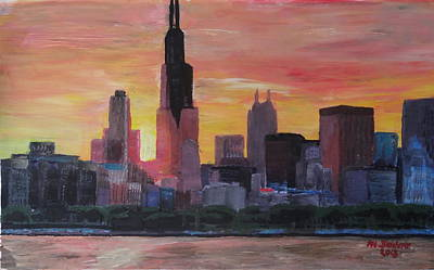 Hancock Building Painting - Chicago Skyline At Sunset by M Bleichner